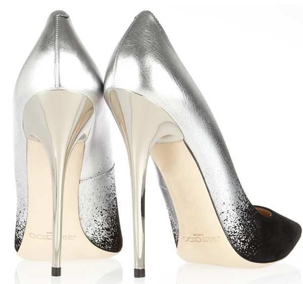 Jimmy Choo Anouk Black Suede and Silver Dégradé Pointy Toe Pumps1