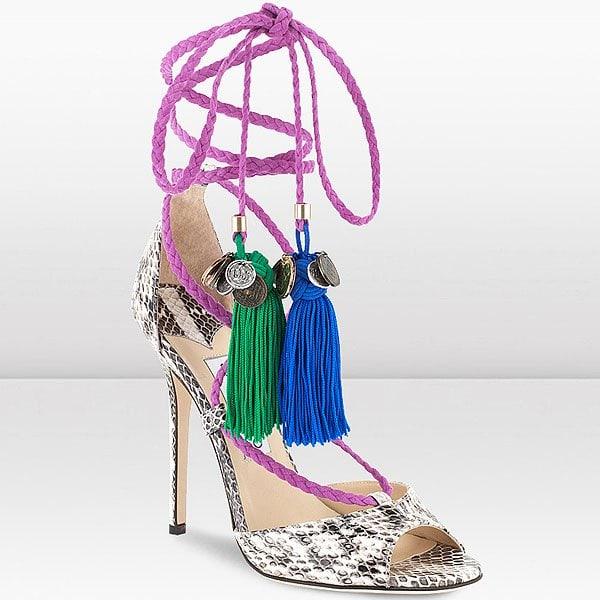 """Jimmy Choo """"Dream"""" Tasseled Rope-Tie Elaphe Sandals"""