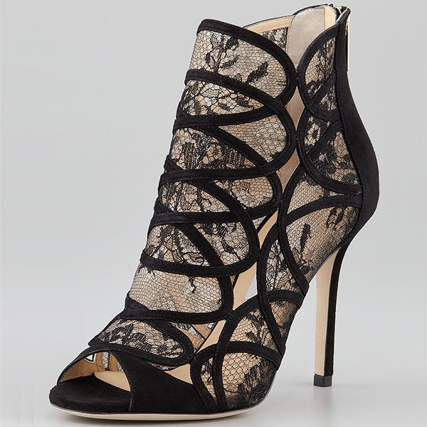 Jimmy Choo Fauna Lace and Suede Sandal Booties