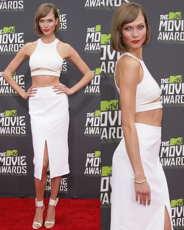 Karlie Kloss at the 2013 MTV Movie Awards held at Sony Pictures Studios on April 14, 2013