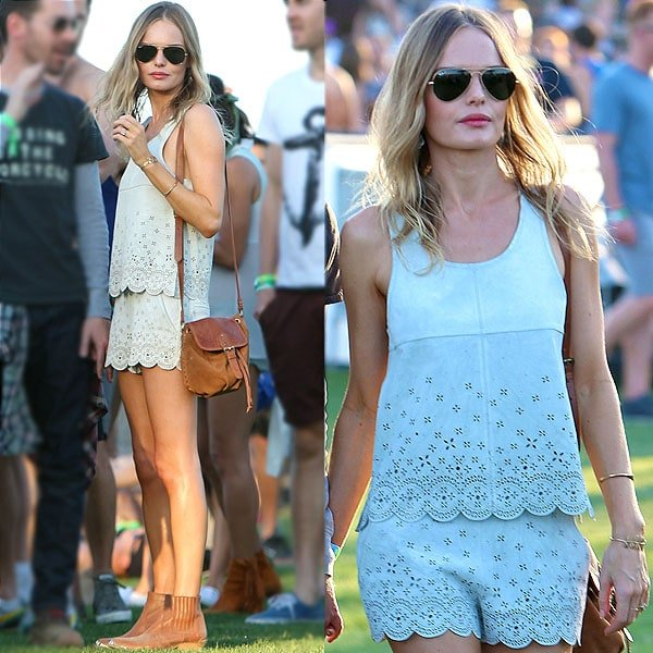 Kate Bosworth nailed the Coachella look with her scalloped top and shorts combo