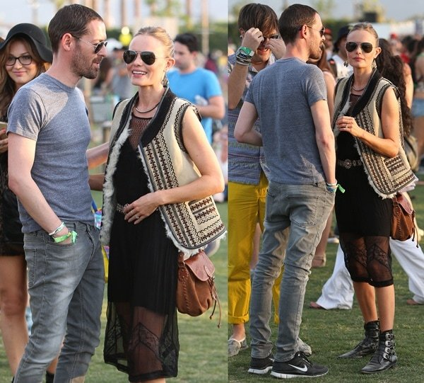 Kate Bosworth with her fiance, Michael Polish, at the Coachella Festival in Indio on April 13, 2013