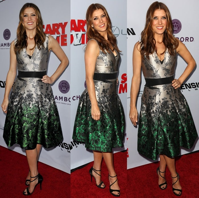 Kate Walsh, who wears shoe size 8, sported a fit-and-flare dress that is floral detailed with an allover metallic sheen
