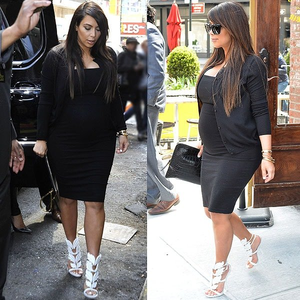 A pregnant Kim Kardashian seen heading to Jeffrey for some shopping after having lunch at Serafina's in New York City on April 22, 2013