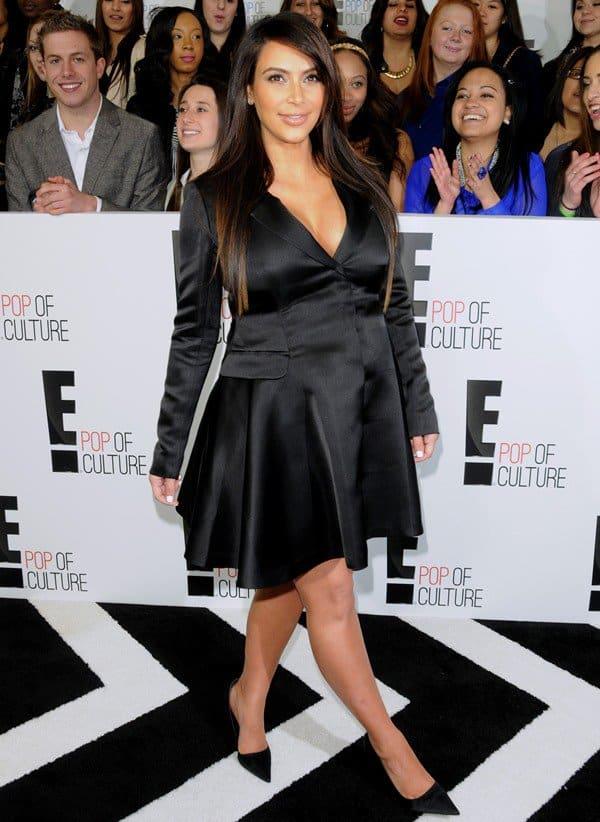 Kim Kardashian was six months pregnant in a sexy black dress