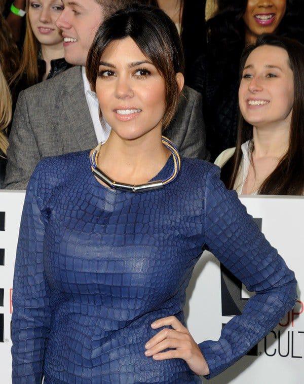 Kourtney Kardashian rocked a blue croc Mlle Mademoiselle dress