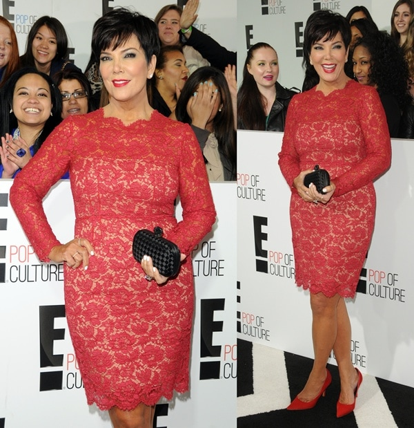 Kris Jenner rocked a red lace dress at the E! Upfront Presentation