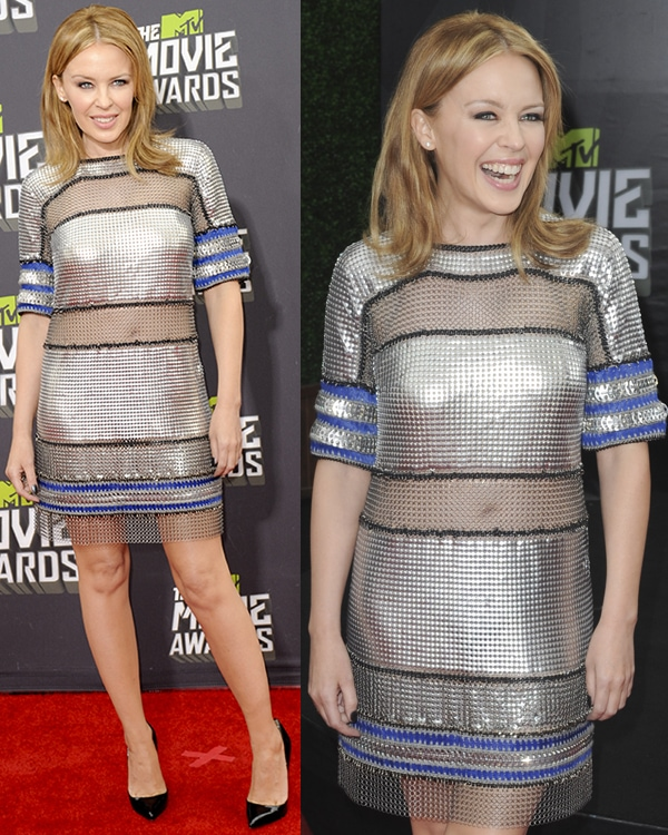 Kylie Minogue at the MTV Movie Awards held at Sony Pictures Studios on April 14, 2013