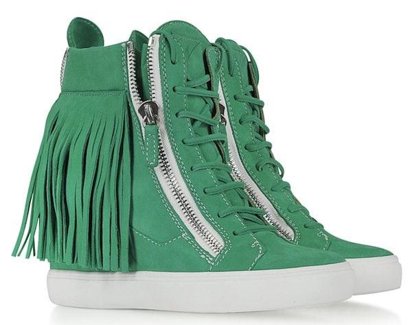 Lorenz Fringe Wedge Sneaker Green1