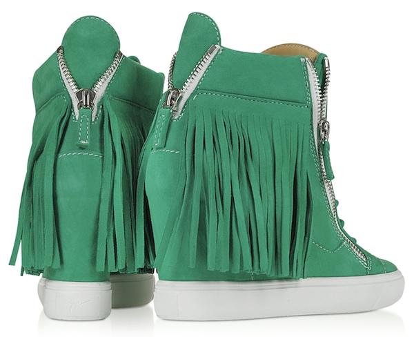 Lorenz Fringe Wedge Sneaker Green2