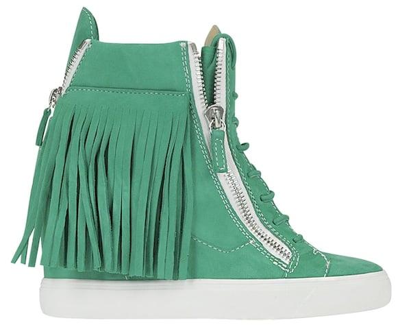 Lorenz Fringe Wedge Sneaker Green3
