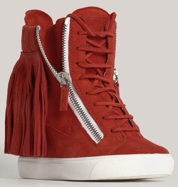 Lorenz Fringe Wedge Sneaker Red