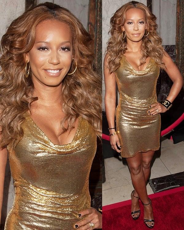 Mel B in a shimmering Versace dress