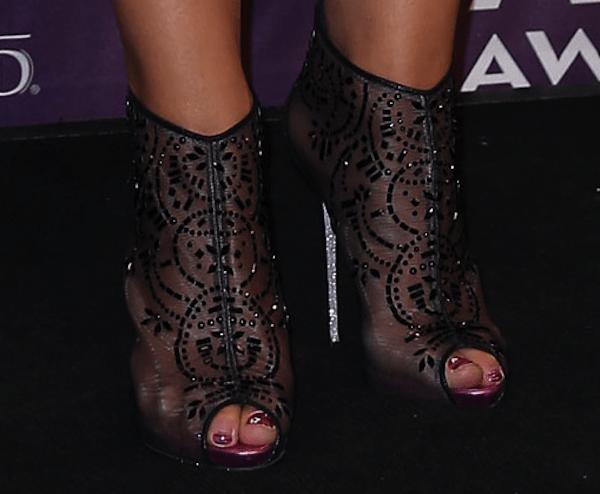 Miranda Lambert in Rene Caovilla crystal-embellished booties