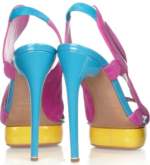 NICHOLAS KIRKWOOD Color-block suede and patent-leather sandals $1,210 Heel