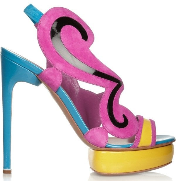 NICHOLAS KIRKWOOD Color-block suede and patent-leather sandals $1,210 Outstep