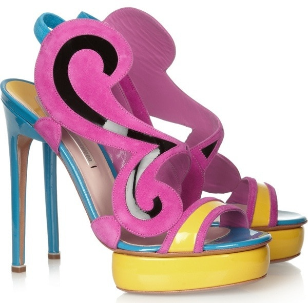 NICHOLAS KIRKWOOD Color-block suede and patent-leather sandals $1,210