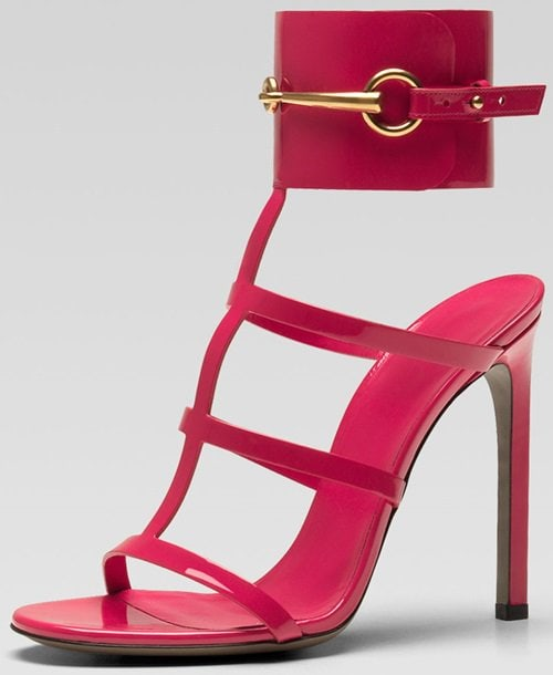 Gucci Patent Leather Gladiator Sandals in Pink