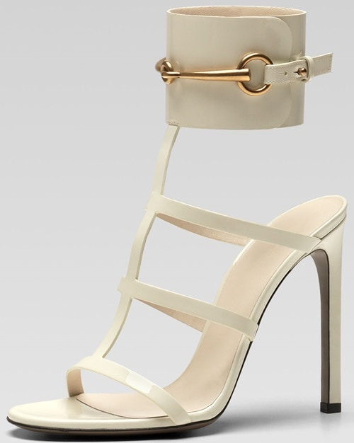 Gucci Patent Leather Gladiator Sandals in Mystic White