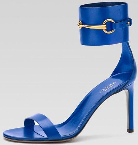 Gucci Horsebit Patent Ankle-Wrap Ursula Sandals in Cobalt