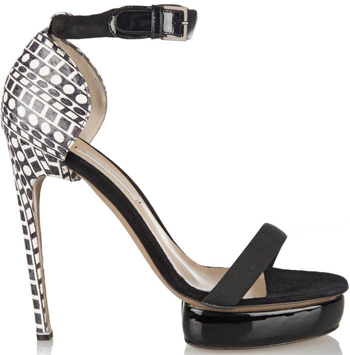 Nicholas Kirkwood Black Elaphe and Suede Sandals