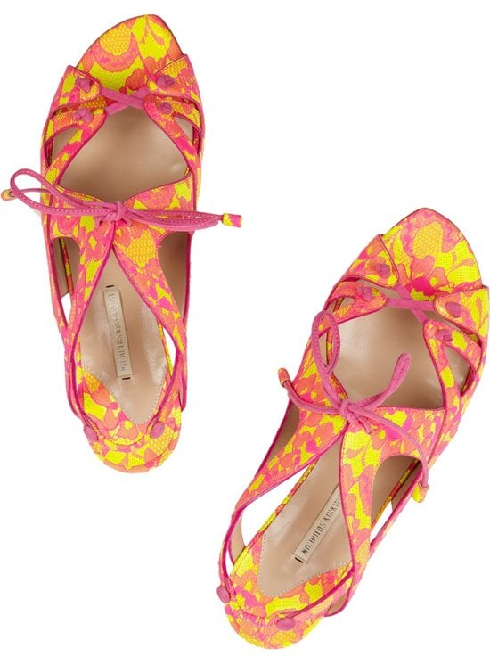Nicholas Kirkwood Lace-covered glossed-leather sandals 2
