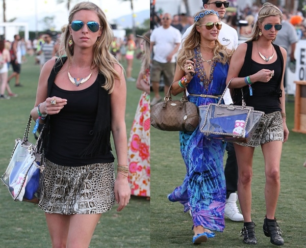 Nicky Hilton with sister, Paris, at the Coachella Festival in Indio on April 13, 2013