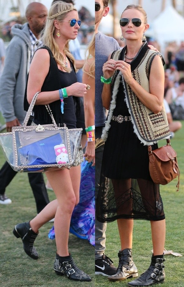 Nicky Hilton and Kate Bosworth at the Coachella Festival in Indio on April 13, 2013