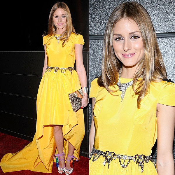 Olivia Palermo brightened up the evening in a sunny yellow Katie Ermilio dress