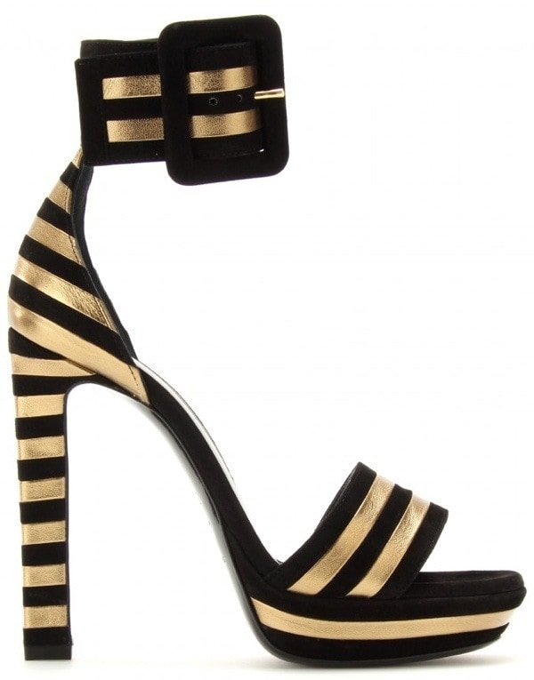 Saint Laurent 'Paloma' Suede and Metallic Leather Striped Sandals