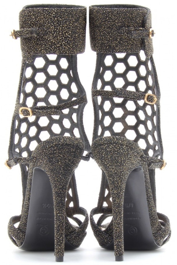 Alexander McQueen Perforated Stiletto Sandals with Glitter