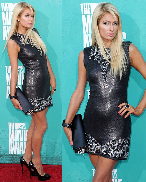 Paris Hilton arrives at the 2012 MTV Movie Awards held at Gibson Amphitheatre on June 3, 2012 in Universal City, California
