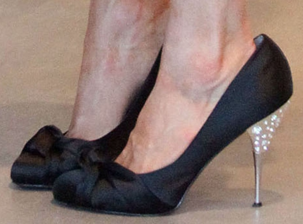 Paris Hilton wearing 'Spelled' diamond pumps from her own shoe line