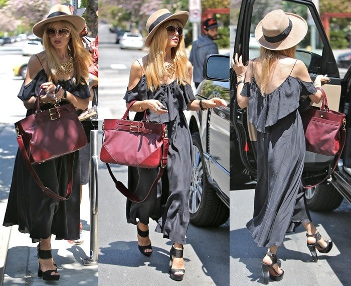 Rachel Zoe in a maxi dress while out with her son