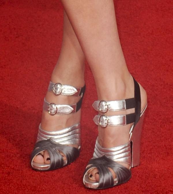 Rebecca Hall put her hot toes on display in metallic Prada heels