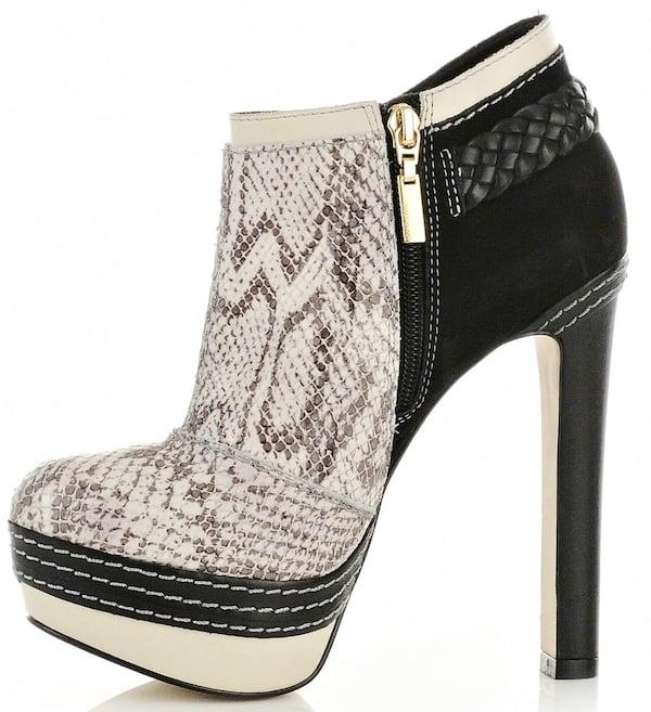 River Island Gray Snakeskin Print Ankle Platform Boots
