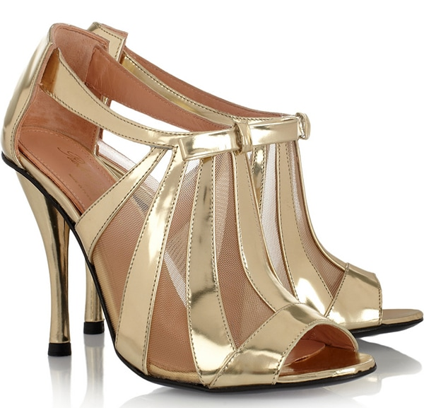 Robert Clergerie Metallic Gold Leather And Mesh Sandals