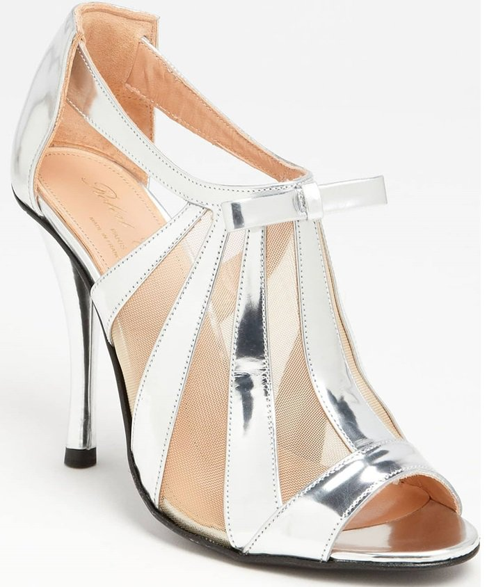 Mirror metallic and modern mesh radiate from the T-strap inspiration of a high-shine, slip-on sandal