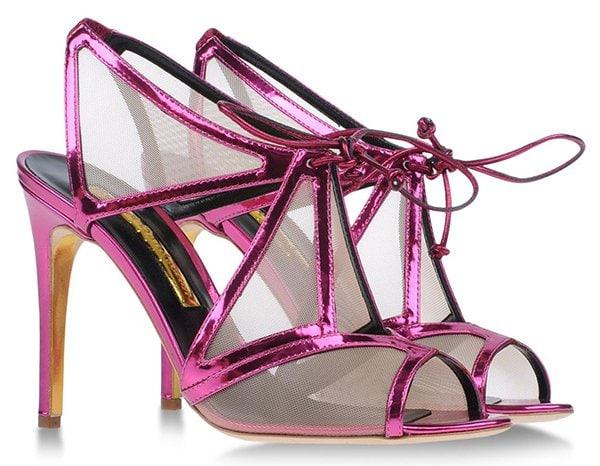 Rupert Sanderson 'Harting' Sandals in Metallic Fuchsia