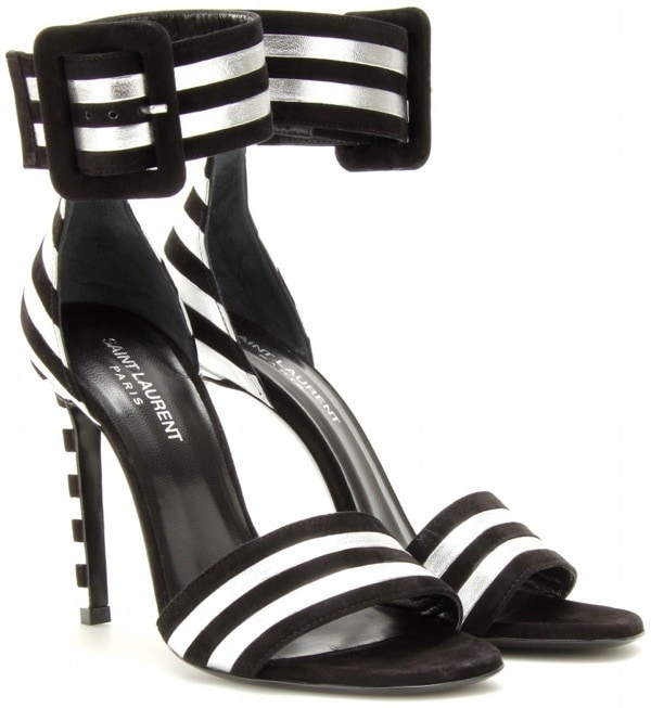 Saint Laurent 'Paloma' Suede and Metallic Sandals in Silver
