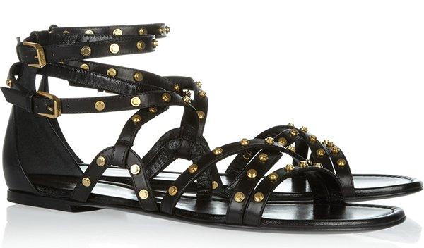 Saint Laurent Studded Leather Flat Sandals