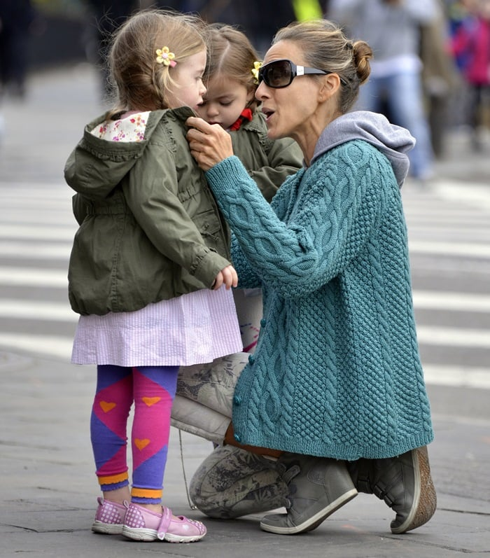 Sarah Jessica Parker star was spotted wearing sneaker wedges as she took her twins to school