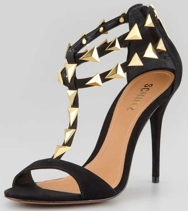 Schutz Akshya Spiked Sandals in Black and Gold
