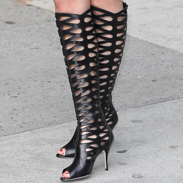 "Selena Gomez showing off her feet in Brian Atwood ""Electra"" boots"
