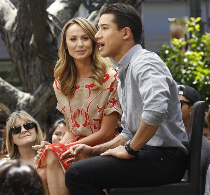 Stacy Keibler seen at The Grove for an interview with Mario Lopez for Extra in Los Angeles on April 17, 2013