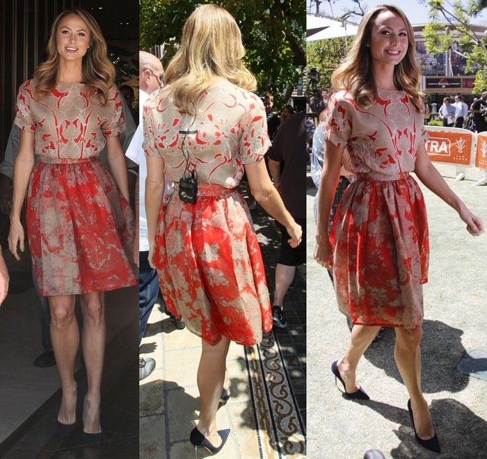 Stacy Keibler wore a pretty and ladylike dress by Wes Gordon featuring tan and red floral prints