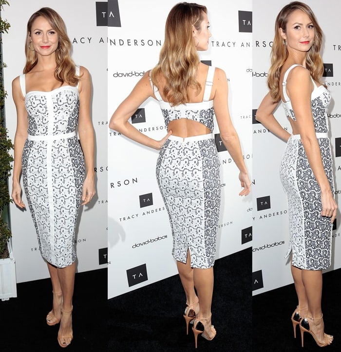 Stacy Keibler wore a skintight dress from Rebecca Minkoff with super sexy ankle-strap stilettos from Giuseppe Zanotti