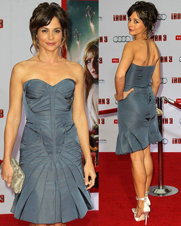 Stephanie Szostak flaunts her incredible legs at the Iron Man 3 premiere held at the El Capitan Theatre in Los Angeles on April 24, 2013