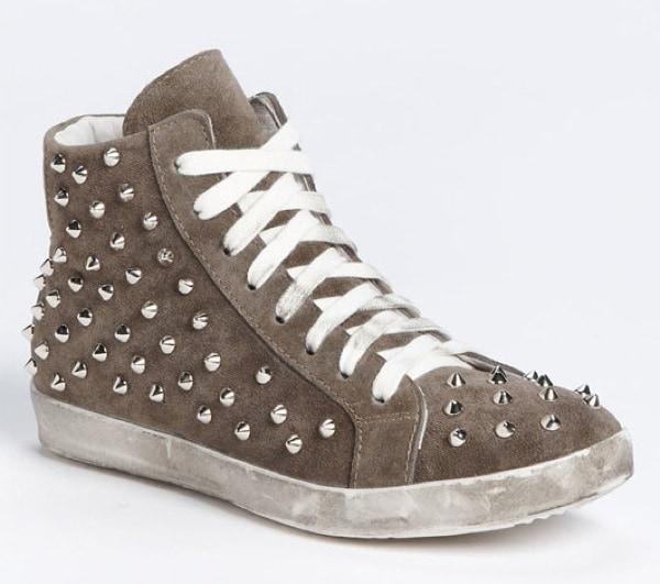 Steve Madden 'Twynkle' Studded Sneaker in Tan Suede