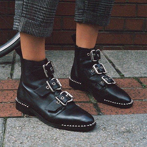 Super-Cool Black 'Alfie' Buckle Boots